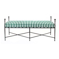 DINING LONG BENCH WITH FINIALS 62x23, EPOXY COATED STEEL
