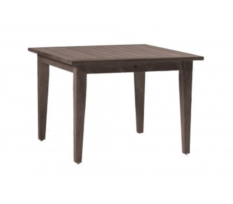 "CLUB TEAK 42"" SQ FARM TABLE WEATHERED TEAK  W/ HOLE"