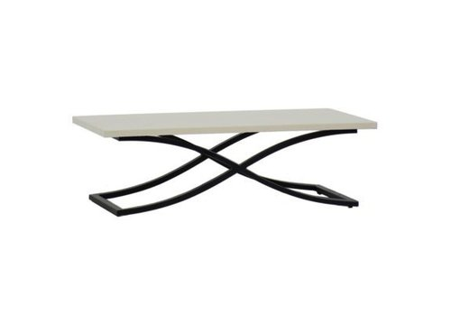 SUMMER CLASSICS MARCO COFFEE TABLE EBONY / TRAVERTINE SUPERSTONE