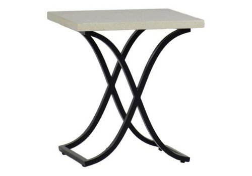 SUMMER CLASSICS MARCO END TABLE EBONY / TRAVERTINE SUPERSTONE