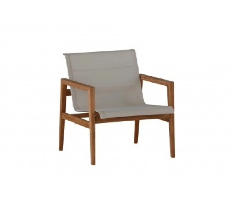 COAST LOUNGE CHAIR   NATURAL TEAK WITH CANVAS BATYLINE SLING
