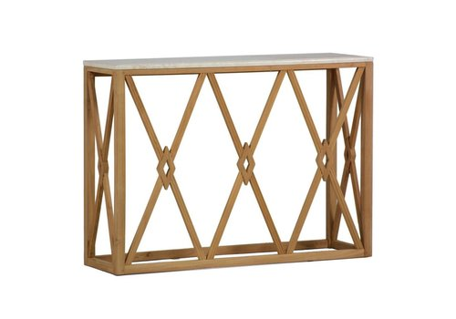SUMMER CLASSICS ALEXANDER WALL CONSOLE TABLE IN TEAK WITH TRAVERTINE TOP