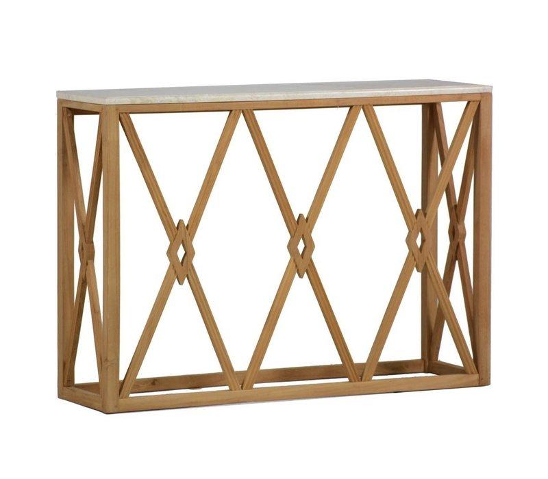 ALEXANDER WALL TABLE TEAK / TRAVERTINE