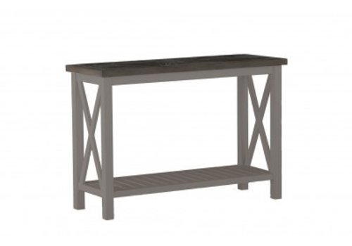 SUMMER CLASSICS CAHABA CONSOLE TABLE WITH OYSTER BASE AND SLATE GRAY TOP