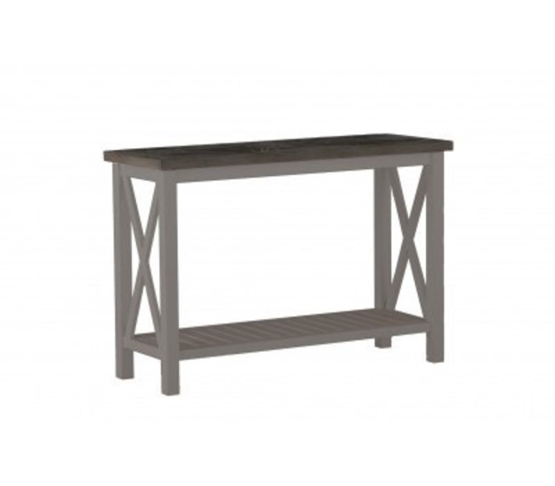 Exceptionnel SUMMER CLASSICS CAHABA CONSOLE TABLE WITH OYSTER BASE AND SLATE GRAY TOP