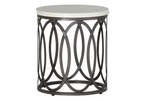 "SUMMER CLASSICS ELLA END TABLE 23"" DIA CHARCOAL BASE TRAVERTINE TOP"