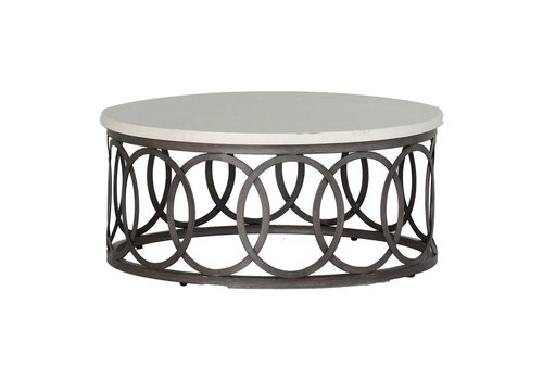 SUMMER CLASSICS ELLA 36 INCH ROUND COFFEE TABLE WITH CHARCOAL BASE AND TRAVERTINE TOP