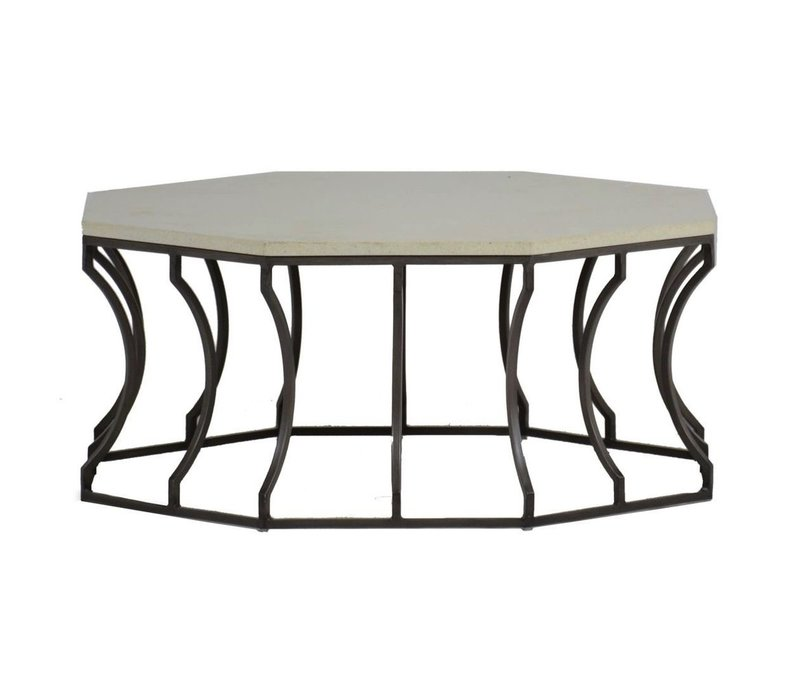 AUDREY COFFEE TABLE CHARCOAL/TRAVERTINE