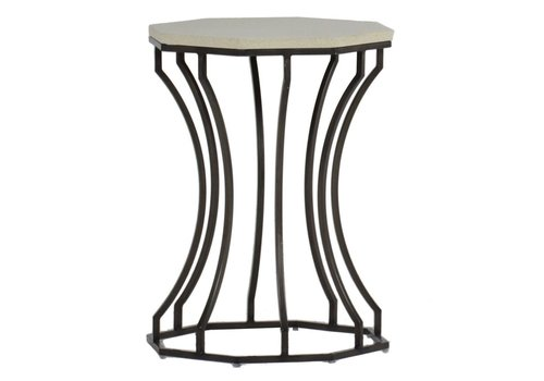 SUMMER CLASSICS AUDREY END TABLE CHARCOAL/TRAVERTINE
