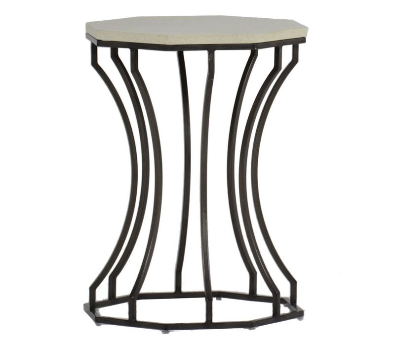 AUDREY END TABLE CHARCOAL/TRAVERTINE