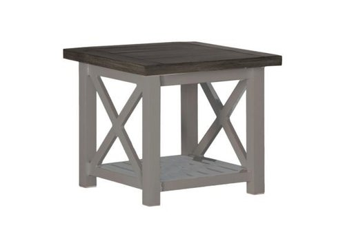 SUMMER CLASSICS CAHABA END TABLE OYSTER BASE WITH SLATE GRAY TOP