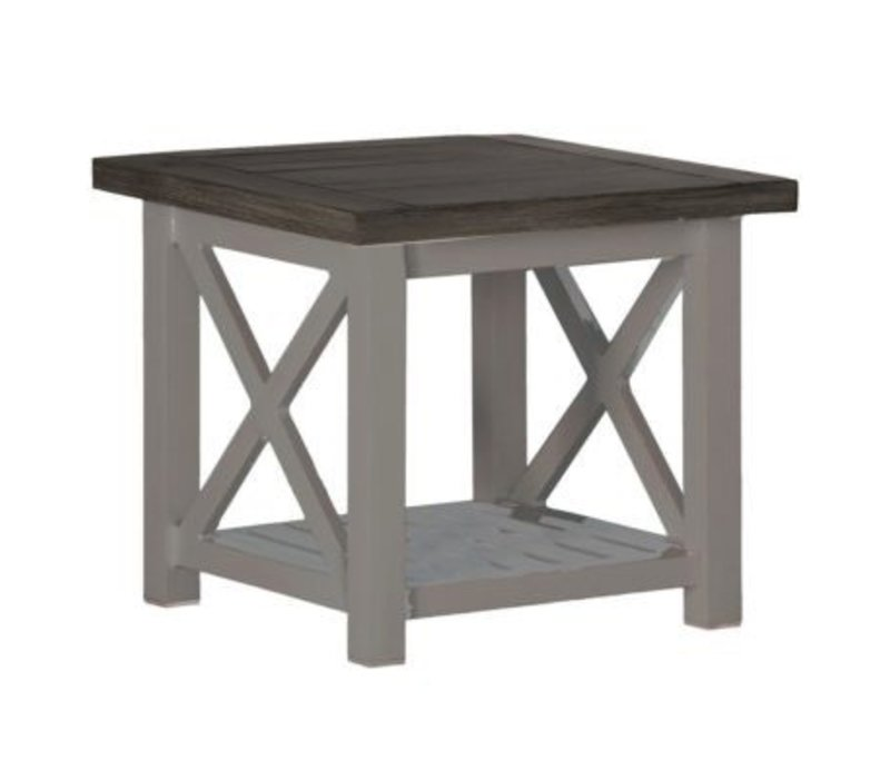 CAHABA END TABLE OYSTER BASE WITH SLATE GRAY TOP
