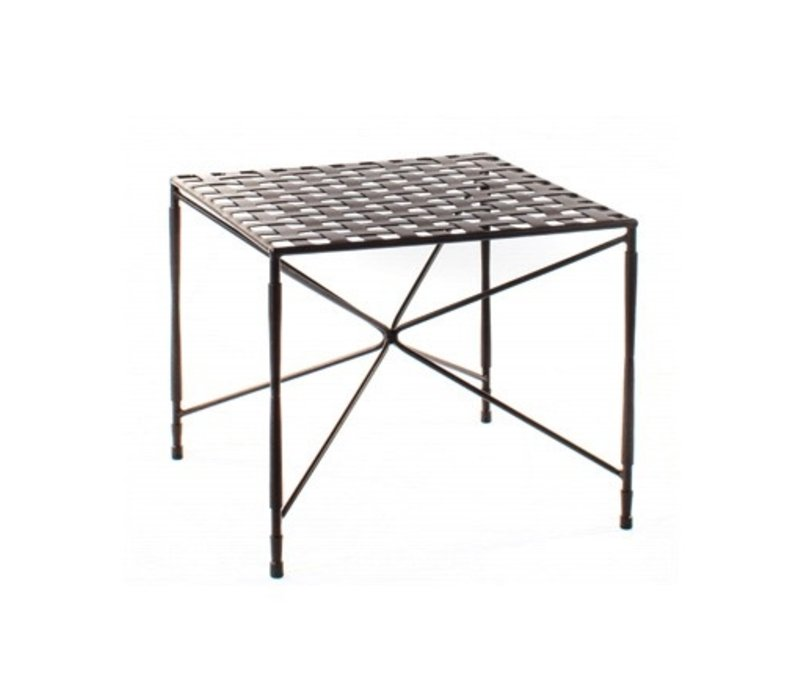 OCCASSIONAL 22x22 SQUARE STAR BASE TABLE, WOVEN TOP,  EPOXY COATED STEEL