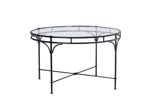 BROWN JORDAN FLORENTINE ROUND DINING TABLE WITH GLASS TOP