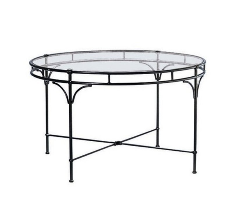 Floine Round Dining Table With Gl Top