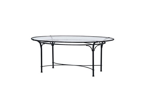 BROWN JORDAN FLORENTINE 50 X 86 OVAL DINING TABLE WITH GLASS TOP