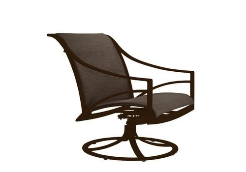 BROWN JORDAN PASADENA PADDED SLING SWIVEL TILT LOUNGE CHAIR