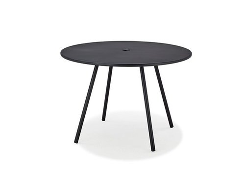 CANE-LINE AREA 43 INCH ROUND ALUMINUM DINING TABLE IN LAVA GREY