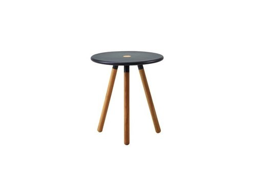 CANE-LINE AREA TABLESTOOL W/ LAVA GREY ALUMINUM TOP AND TEAK LEGS