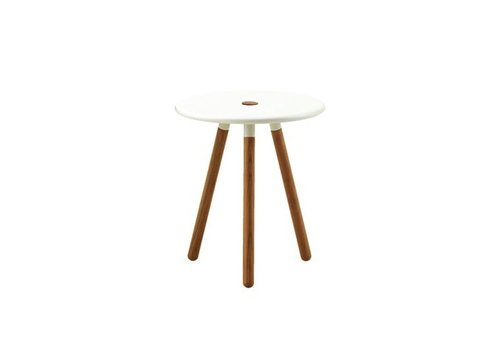 CANE-LINE AREA TABLESTOOL W/ WHITE ALUMINUM TOP AND TEAK LEGS