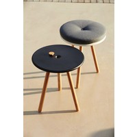 AREA TABLESTOOL W/ LAVA GREY ALUMINUM TOP AND TEAK LEGS
