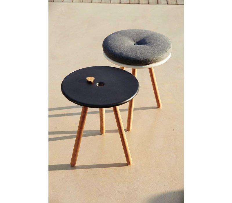 AREA TABLESTOOL WITH LAVA GREY ALUMINUM TOP AND TEAK LEGS