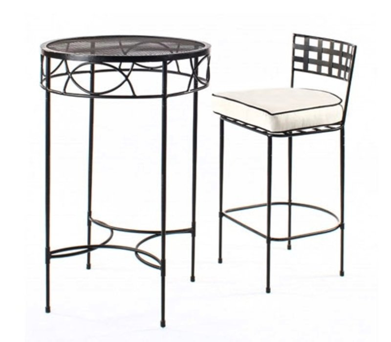 28 INCH ROUND BAR TABLE WITH MESH TOP IN EPOXY COATED STEEL
