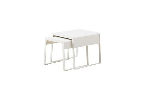 CANE-LINE CHILL-OUT SIDE TABLES (LARGE + SMALL) IN WHITE ALUMINUM