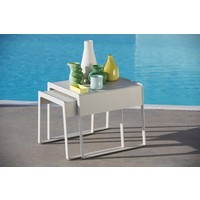 CHILL-OUT SIDE TABLES (LARGE + SMALL) WHITE, ALUMINUM