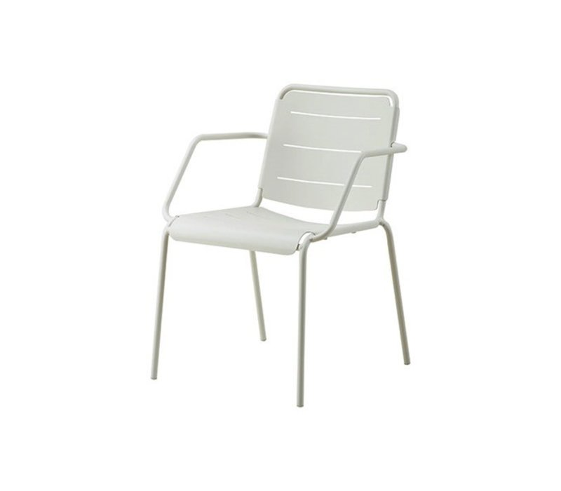 COPENHAGEN ALUMINUM ARMCHAIR IN WHITE / SOLD IN SETS OF 2 ONLY
