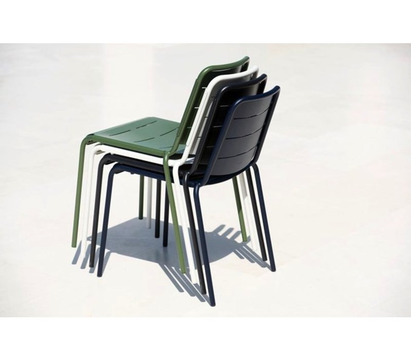 COPENHAGEN ALUMINUM CITY CHAIR IN MIDNIGHT BLUE / SOLD IN SETS OF 2 ONLY