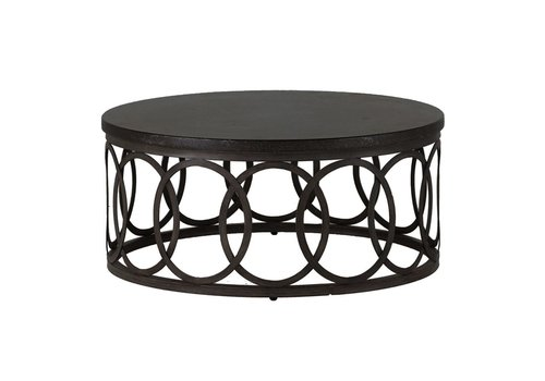 SUMMER CLASSICS ELLA 36 INCH ROUND COFFEE TABLE WITH CHARCOAL BASE BLACK WALNUT TOP