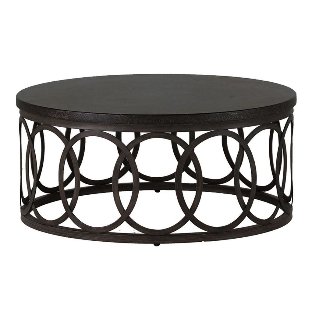 ELLA 36 INCH ROUND COFFEE TABLE WITH CHARCOAL BASE BLACK WALNUT TOP. Prev