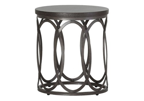 "SUMMER CLASSICS ELLA END TABLE 23""DIA CHARCOAL BASE BLACK WALNUT TOP"