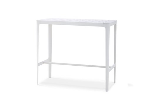 CANE-LINE CUT BAR TABLE IN WHITE ALUMINUM