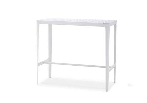 CANE-LINE CUT BAR TABLE, WHITE ALUMINUM