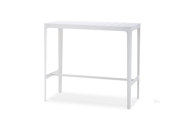 CANE LINE CUT BAR TABLE IN WHITE ALUMINUM