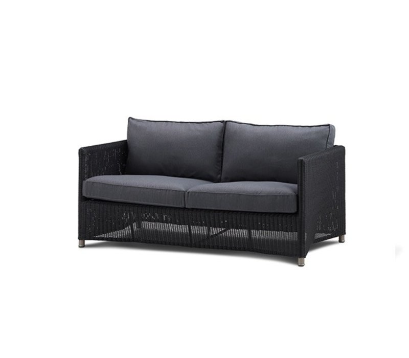 DIAMOND 2-SEATER SOFA IN GRAPHITE WEAVE WITH CUSHIONS IN GREY SUNBRELLA NATTE