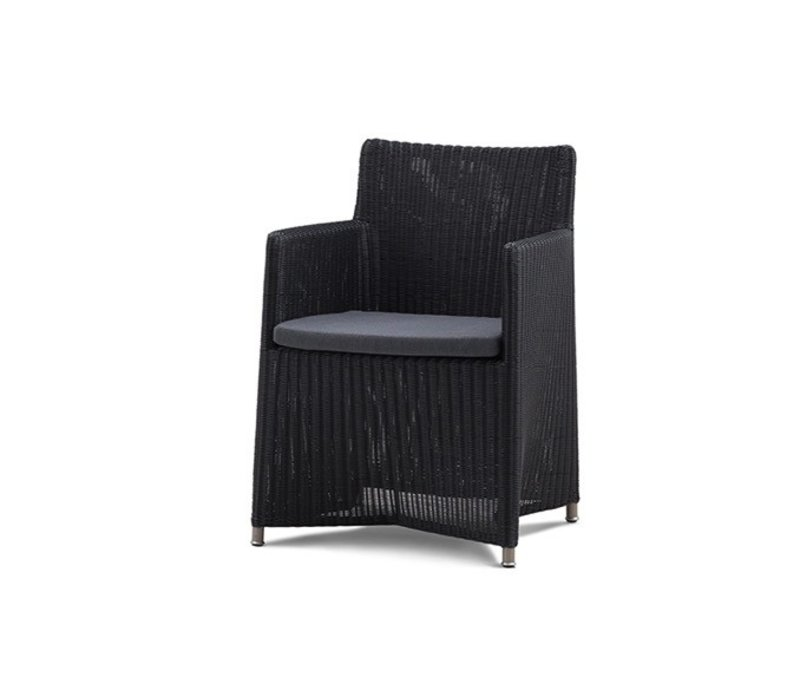 DIAMOND ARM CHAIR IN GRAPHITE WEAVE WITH CUSHION IN GREY SUNBRELLA NATTE