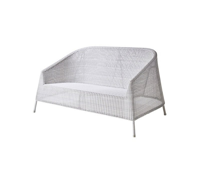KINGSTON 2-SEATER LOUNGE SOFA IN WHITE-GREY CANE-LINE FIBRE