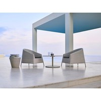 KINGSTON LOUNGE CHAIR IN WHITE-GREY CANE-LINE FIBRE