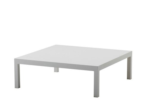CANE-LINE PENTHOUSE 35x35 COFFEE TABLE, WHITE ALUMINUM BASE WITH WHITE CERAMIC TOP