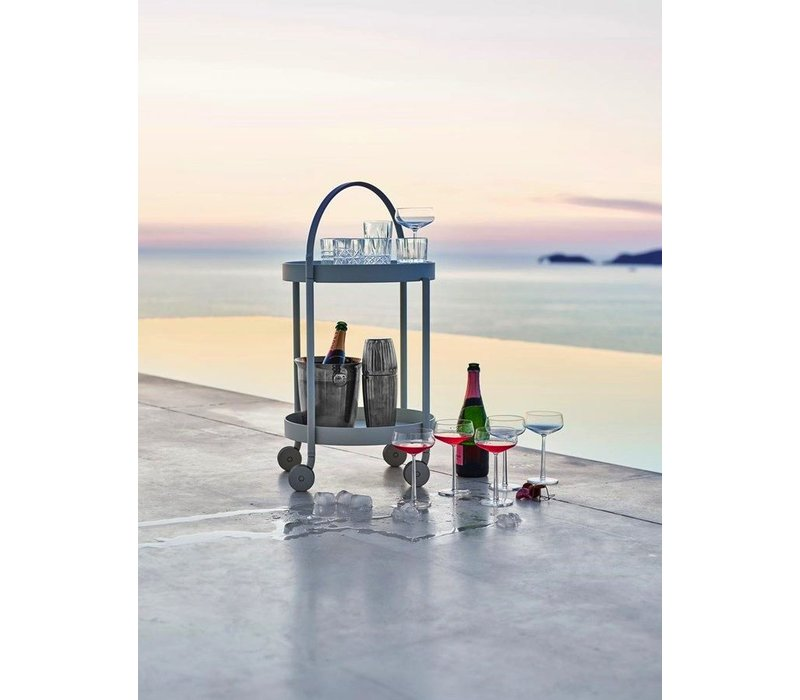 ROLL TROLLEY, WHITE ALUMINUM