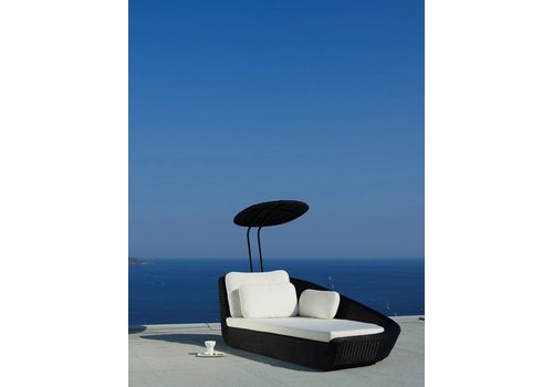 CANE-LINE SAVANNAH DAYBED LEFT MODULE IN BLACK, CANE-LINE FIBRE