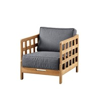 SQUARE LOUNGE CHAIR WITH GREY SOFTTOUCH CUSHION, TEAK