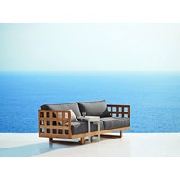 SQUARE 3 SEATER SOFA IN TEAK WITH GREY SOFTTOCH CUSHION