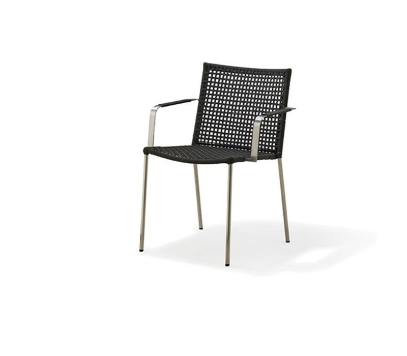STRAW ARMCHAIR ANTHRACITE, CANE-LINE ROPE