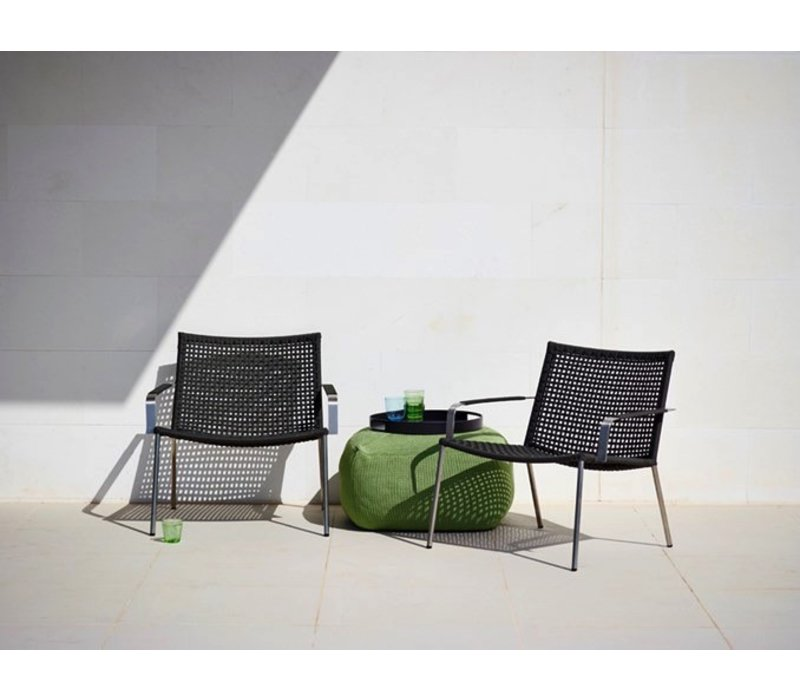 STRAW LOUNGE ARMCHAIR ANTHRACITE, CANE-LINE ROPE