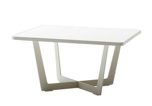 CANE-LINE TIME OUT 28x28 SMALL COFFEE TABLE IN WHITE, ALUMINUM