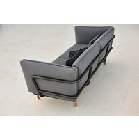 URBAN 3 SEATER SOFA IN LAVA GREY ALUMINUM WITH CUSHIONS IN GREY SUNBRELL NATTE